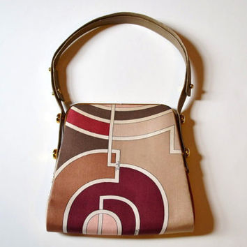 Vintage 1970's Emilio Pucci Signature Mod Silk Neutral Fall Color Print Adjustable Strap Handbag