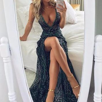 Soraya Sequin Deep-V Maxi Dress