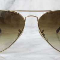 Cheap RAY BAN RB3025 001/51 Brown Gradient & Gold LARGE METAL AVIATOR Sunglasses