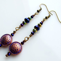 Coin Earrings - Indigo and Gold Coin Earrings - Rustic Earrings - Evening Earrings