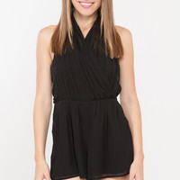 Accordion Pleat Halter Tie Romper