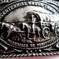 Wagon Train Belt Buckle Bicentennial Pilgrimage To Pennsylvania Edition Ornate Cast Metal Southwestern Design Collectible Gift Item 2403