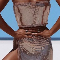 Indie XO Haute Solstice Metal Chainmail Looped Tie Convertible Strapless Halter Bandeau Crop Two Piece Asymmetric Mini Skirt Cover up Two Piece Dress