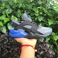 Best Online Sale Nike Air Huarache 4 Rainbow Ultra Breathe Men Women Hurache Grey Dark Blue Running Sport Casual Shoes Sneakers - 103