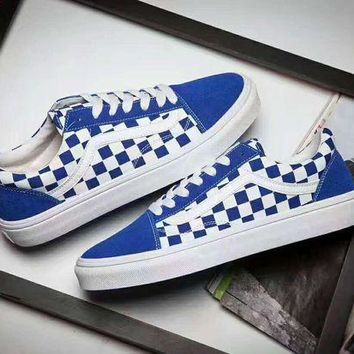 DCCKBWS Vans Old Skool Casual White Stripes Blue White Grid Shoes Men And Women Cloth Shoes
