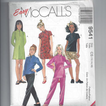 McCall's 9541 Pattern for Girls' Dress, Tunic, Top, Pull-On Pants, Pull-On Skirt, Sizes 12 to 16, Easy McCall's, from 1998, Mandarin Collar