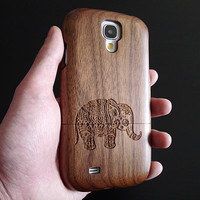 Elephant Phone case - Wood Samsung Galaxy S4 case - Samsung Galaxy S3 case - Tribal Samsung Galaxy S5 case - Walnut - Elephant - 6