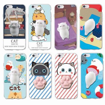 Cute Lucky Cat Kitty Squishy Cartoon Animals Seal  Stress Anxiety Soft Phone Case For iPhone 7 7Plus 6 6S 6Plus 8 8Plus SAMSUNG