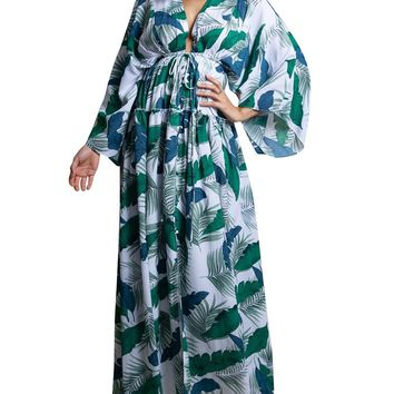 Palm Print Kimono Sleeve Maxi Dress