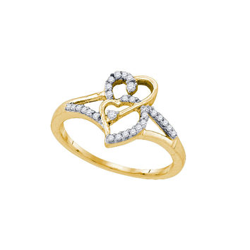10k Yellow Gold Womens Round Diamond Double Heart Promise Bridal Ring 1/6 Cttw 77647