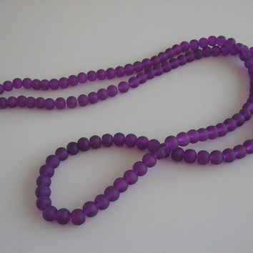 "Purple Glass Beads 6mm Matte Finish 32"" Full Strand Bright Dark Round Wholesale Jewelry Supplies Supply Inexpensive CrazyCoolStuff"