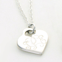 Heart Pendant Necklace ~ Monogrammed