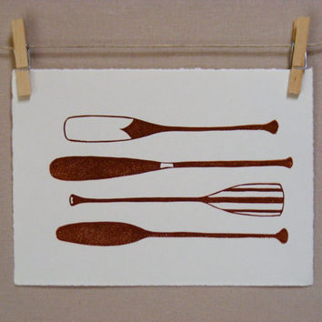 Canoe  Paddle Oar Row  Hand Printed Art by WoodenSpoonEditions