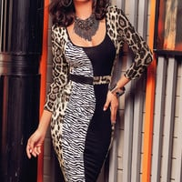 Scoop Neck Animal Print Spliced Bodycon Midi Dress
