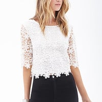 FOREVER 21 Floral Crochet Crop Top White Large