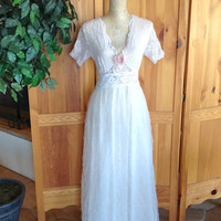 French Lace and Tulle Wedding Dress Cotillion Gown Honey Girl Altered Couture One of a Kind Up Cycled Size Small