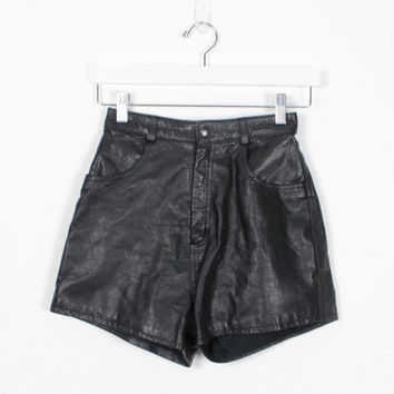 Vintage Leather Shorts 1980s Black Leather High Waisted Shorts XS Shorts Exrtra Small Shorts Mom Shorts Biker Shorts 80s Shorts Butter Soft