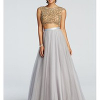 Two Piece Beaded Prom Crop Top with Tulle Skirt - Davids Bridal