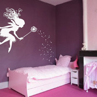 "Fairy Dandelion Wand Wall Decal Nursery Kids Room Tale Sticker 1146 (Choose Color) 28"" wide x 45"" tall"