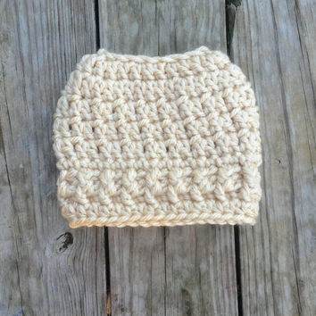 Ready To Ship Tan Winter White Messy Bun Hat Beanie Women's Crochet Hat Winter Accessories