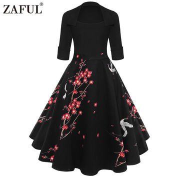 ZAFUL Floral Print High Waist Vintage Dress Women New 2018 Spring Rockabilly Patchwork Big Swing A-Line Dresses Vestido de festa