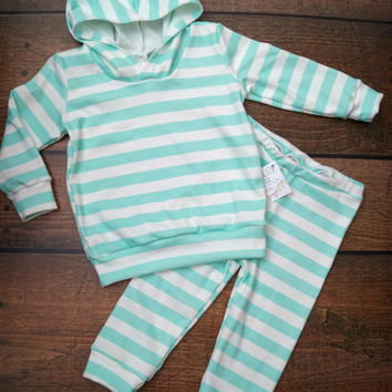 Baby Children Organic 2pc Extremely Soft and Cuddly Spring Gift Set Hoodie and Leggings set in a mint and white stripe
