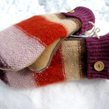 SWEATY MITTS - Designer Upcycled Wool Sweater Mittens Women's Recycled Handmade in Wisconsin - Orange Purple Yellow Brown Pink Stripes Warm