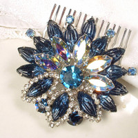 Bridal Hair Comb or Sash Brooch Sapphire Blue Rhinestone Silver Flower Pin or HeadPiece Navy Crystal Vintage Wedding Hair Accessory Haircomb