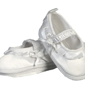 Ballet Slipper Booties White Satin Dress Shoes (Infant Girls newborn - 7 months)