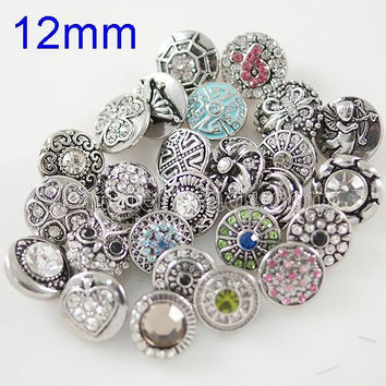 New fashion 12mm mini snap button rhinestone snap  jewelry for bracelets necklace pendant jewelry KB9900-MIX-S