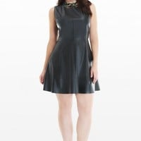 Plus Size Faux Leather Fit and Flare Dress | Fashion To Figure