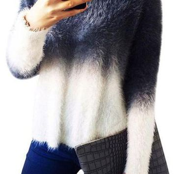 Irregular Loose  Ladies Sweater Gradient Color Fuzzy Faux Mohair Sweater