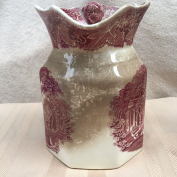 1800s Masons Ironstone Pitcher Vista England - 7 inches tall