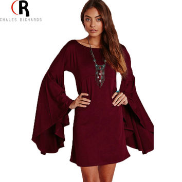 CHOIES Long Bell Sleeve Shift A Line Mini Fall Dress Wine Red Green Loose Casual Fashion Dresses 2015 Autumn Women Clothing