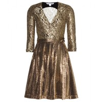 diane von furstenberg - roma metallic wrap dress