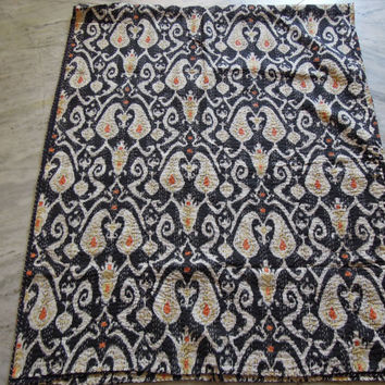 Twin Black Ikat Kantha Quilt Blanket - Cotton Quilted Bedspreads,Throws,Ralli,Gudari Handmade Tapestery REVERSIBLE Bedding 60x90 inch