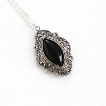 Vintage Art Deco Sterling Silver Black Glass & Marcasite Pendant Necklace - 1930s Marquise Cut Simulated Onyx Jewelry