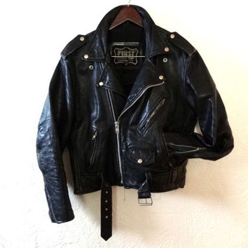 Vintage 70s Leather Motorcycle Jacket - Medium - Moto Jacket - Biker Jacket -