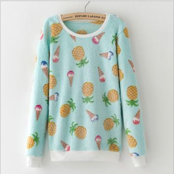 Flannel cute pineapple hedging sweater