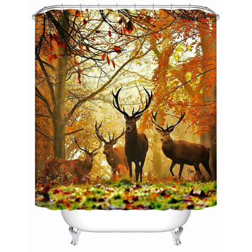 2016 New High Quality Waterproof Bathroom Products Shower Curtains Bathroom Curtain Deer Acceptable Personalized Custom Y-145