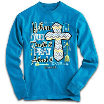 Cherished Girl Pray About it Chevron Cross Girlie Christian Bright Long Sleeve T Shirt