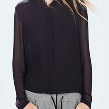 Black Button Detail Pleated Back Long Sleeve Blouse