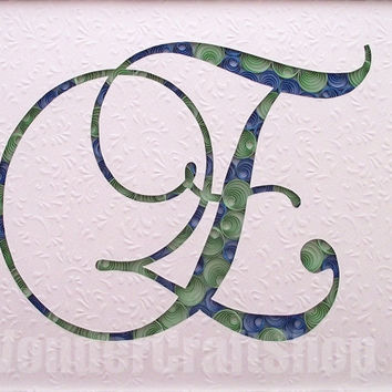 letter e wall art, paper filigree, blue and green decor, framed art, cut out, nursery art, baby room ideas, nursery letter, name