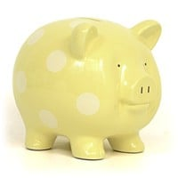 Child to Cherish Large Pig Bank, Yellow with White Dot