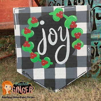 BUFFALO PLAID PENNANT JOY BANNER OR PERSONALIZE WITH YOUR INITIAL Wooden Door Hanger