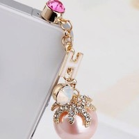 Elegant 3.5mm Pearl Anti Dust Plug Cellphone Charm Earphone Dock for For iPhone,iPad,iPod Touch,HTC