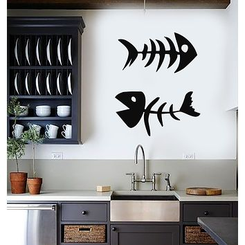 Vinyl Wall Decal Two Fish Bones Seafood Restaurant Decor Stickers Mural (g2815)
