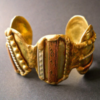 Brutalist Studio Cuff Bracelet signed MACLLES MACHES, Mixed Metal, Chunky, Vintage