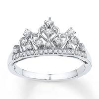Crown Ring 1/15 ct tw Diamonds Sterling Silver
