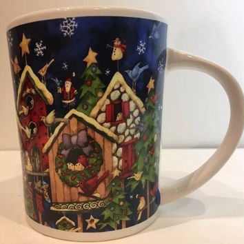 Gibson X-Mas Holiday Mug By Artist Debi Hron Red Birds Santa Birdhouses Stars